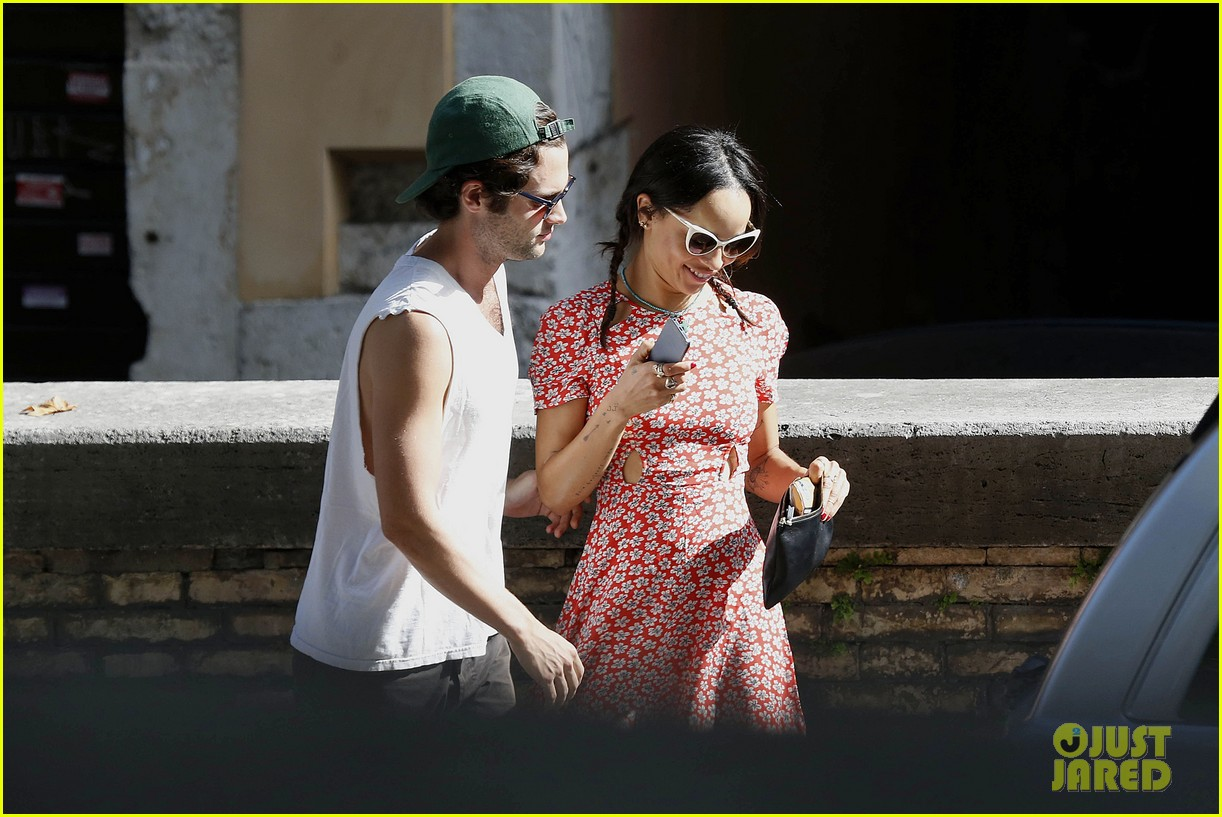 zoe kravitz penn badgley back together in rome 13