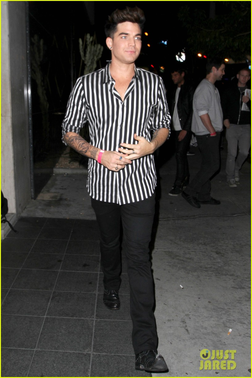 adam lambert smiles wide while heading to bootsy bellows 05