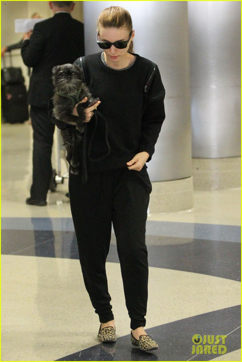 rooney mara holds pet pooch close at the airport 02
