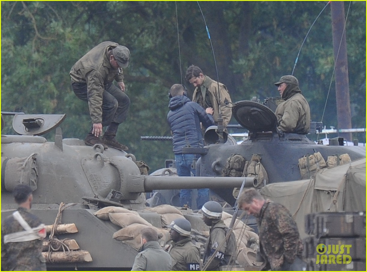 brad pitt rocks slicked back hair army outfit on fury set 102963200