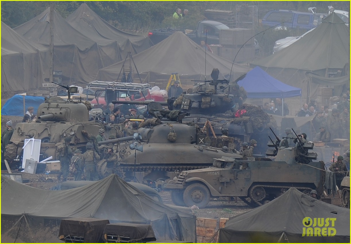 brad pitt rocks slicked back hair army outfit on fury set 242963214