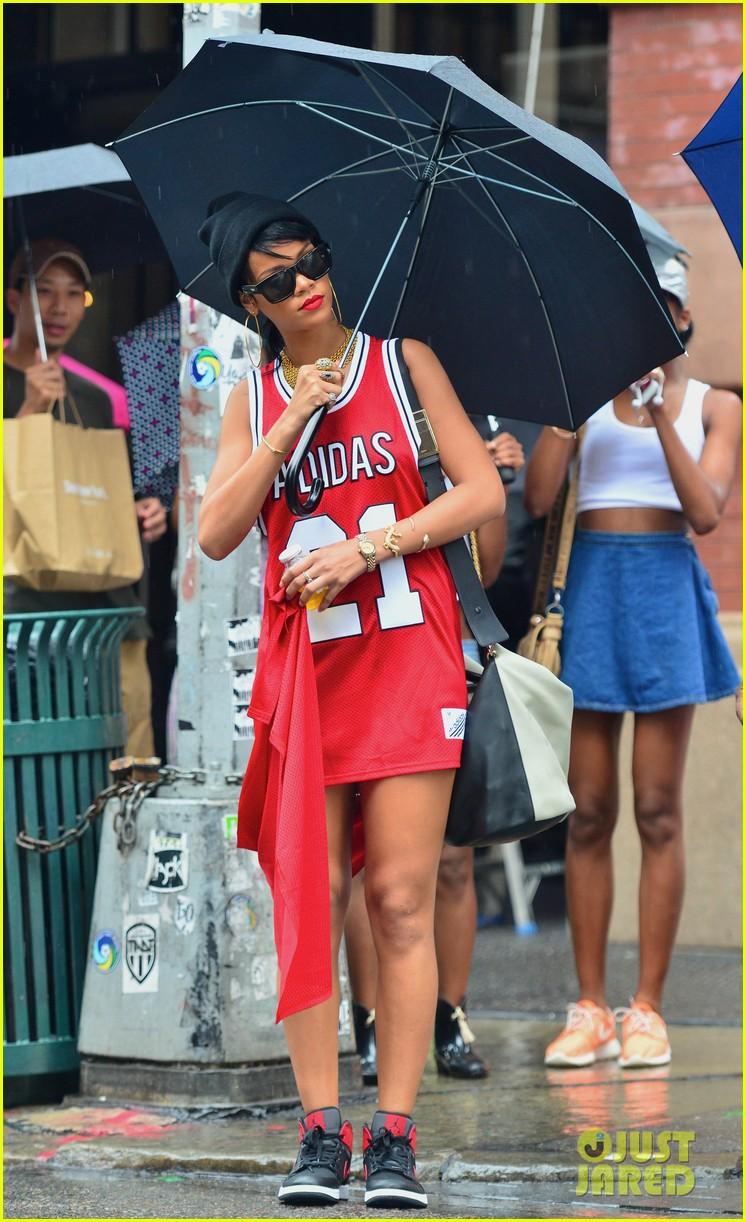 Full Sized Photo of rihanna wears basketball jersey dress ...