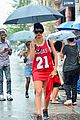 rihanna wears basketball jersey dress in rainy nyc 15