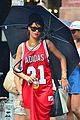 rihanna wears basketball jersey dress in rainy nyc 18