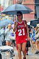 rihanna wears basketball jersey dress in rainy nyc 20