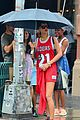 rihanna wears basketball jersey dress in rainy nyc 26
