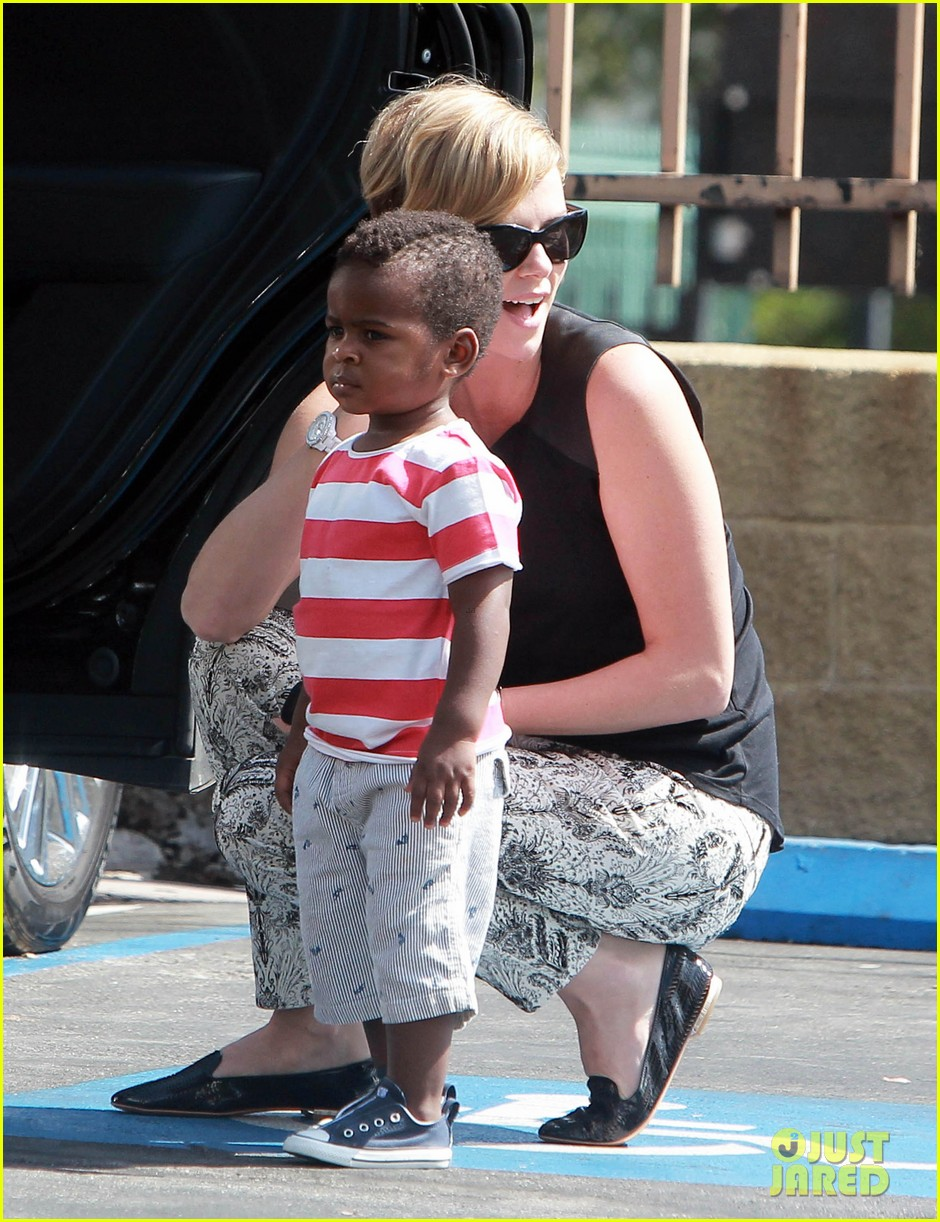 charlize theron grabs coffee with her little man jackson 02