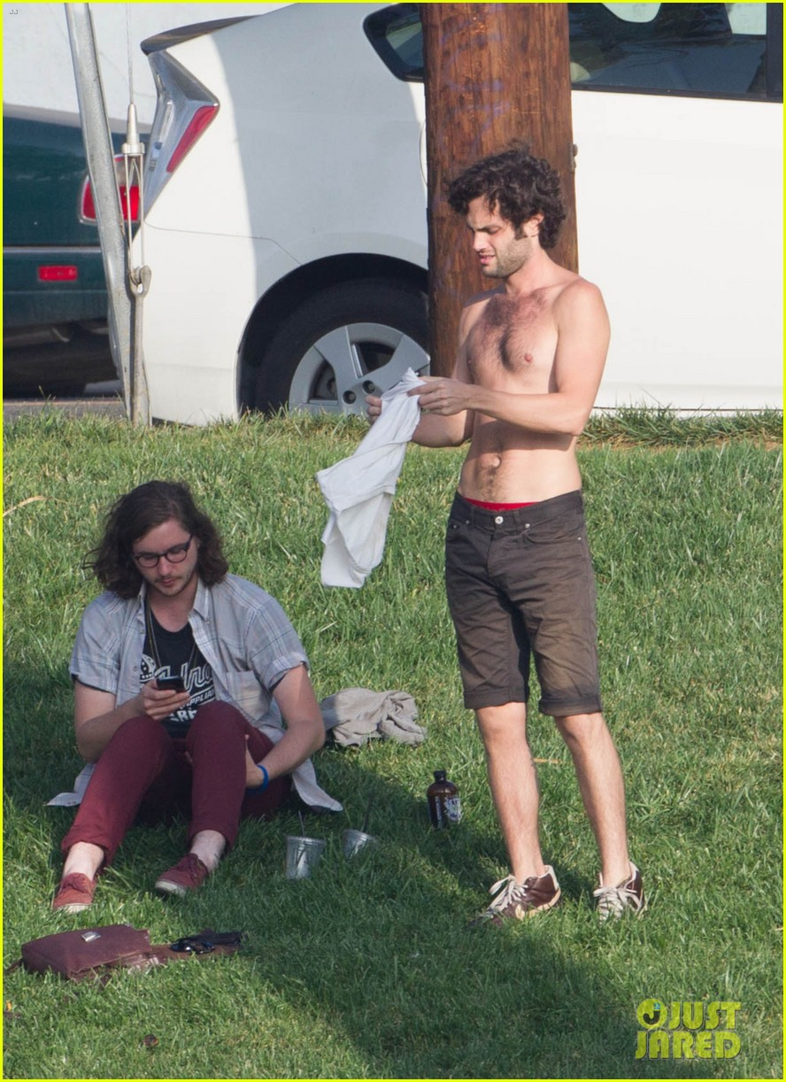penn badgley goes shirtless in the park 01