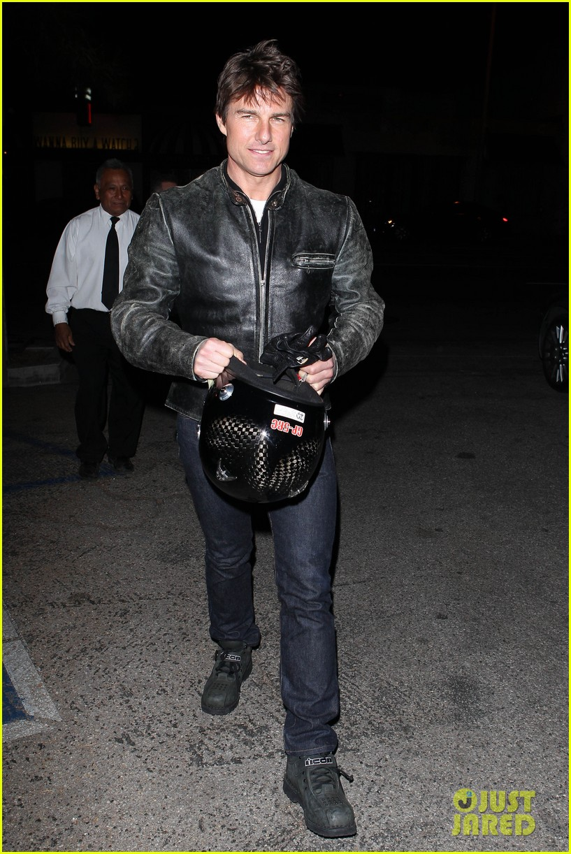 tom cruise rides motorcycle for lucas on sunset dinner outing 15