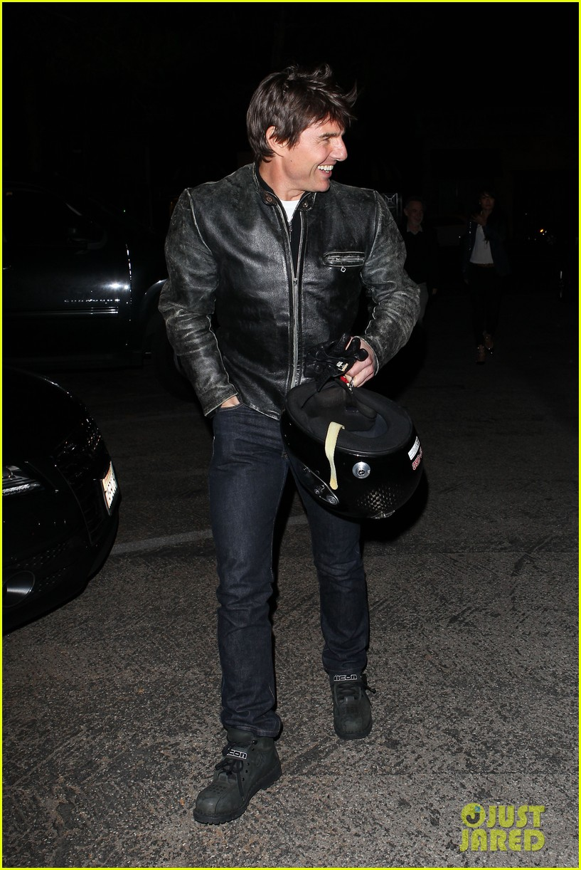 tom cruise rides motorcycle for lucas on sunset dinner outing 262973555