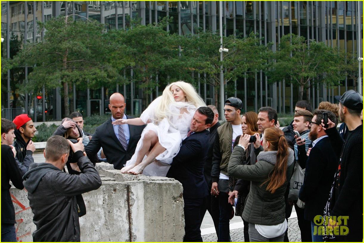 lady gaga naked under sheer cover up at berlin wall 09