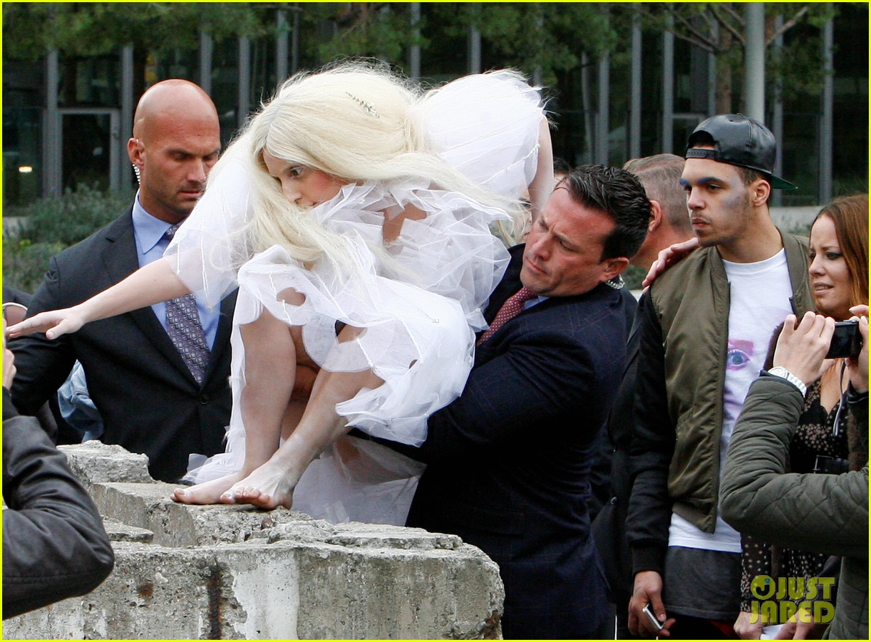 lady gaga naked under sheer cover up at berlin wall 102979060