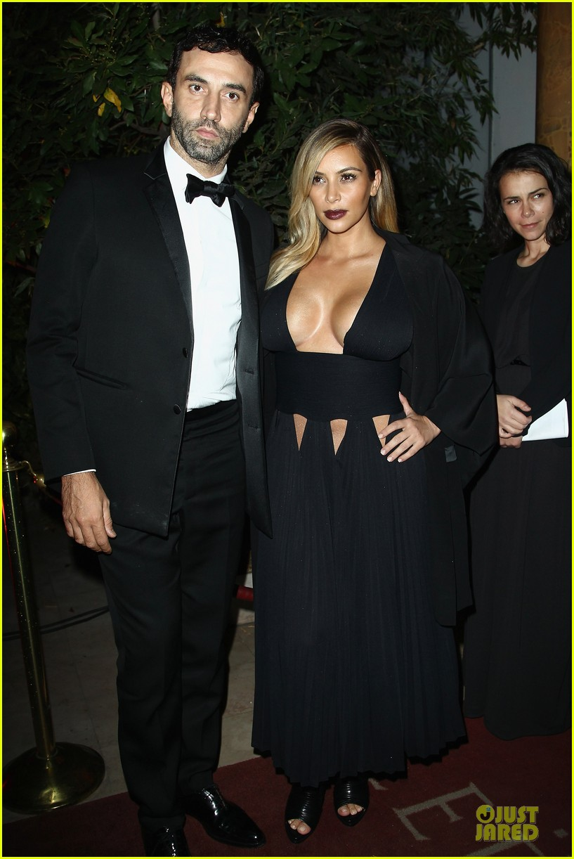kim kardashian cleavage baring dress at mademoiselle c party 01