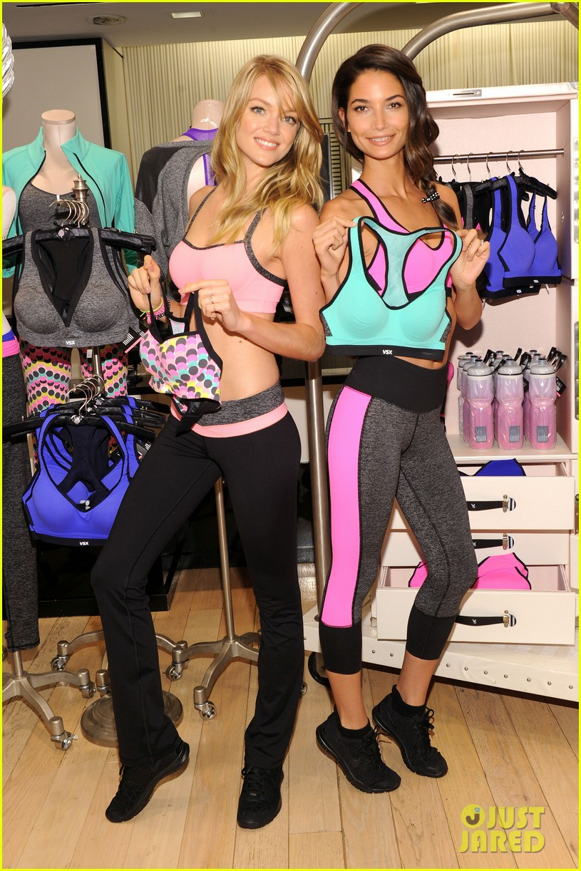lily aldridge lindsay ellingson display abs at sports bra launch 082977048