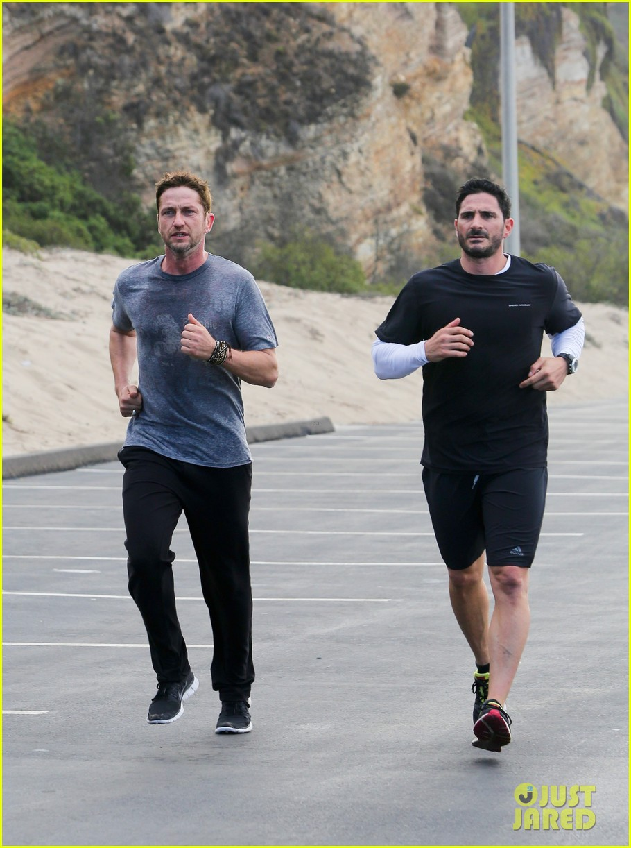 gerard butler works up a sweat for morning run 10