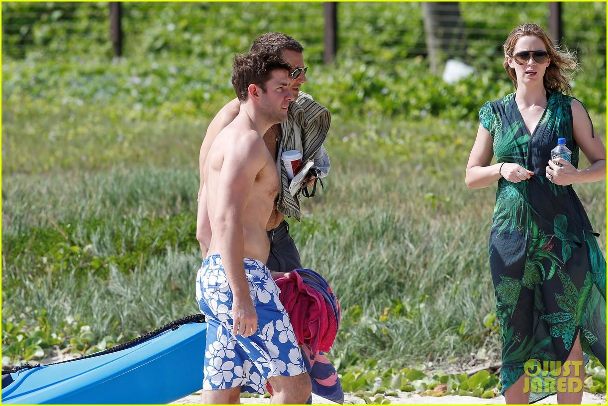 bradley cooper shirtless with john krasinski pregnant bikini clad emily blunt 472996587