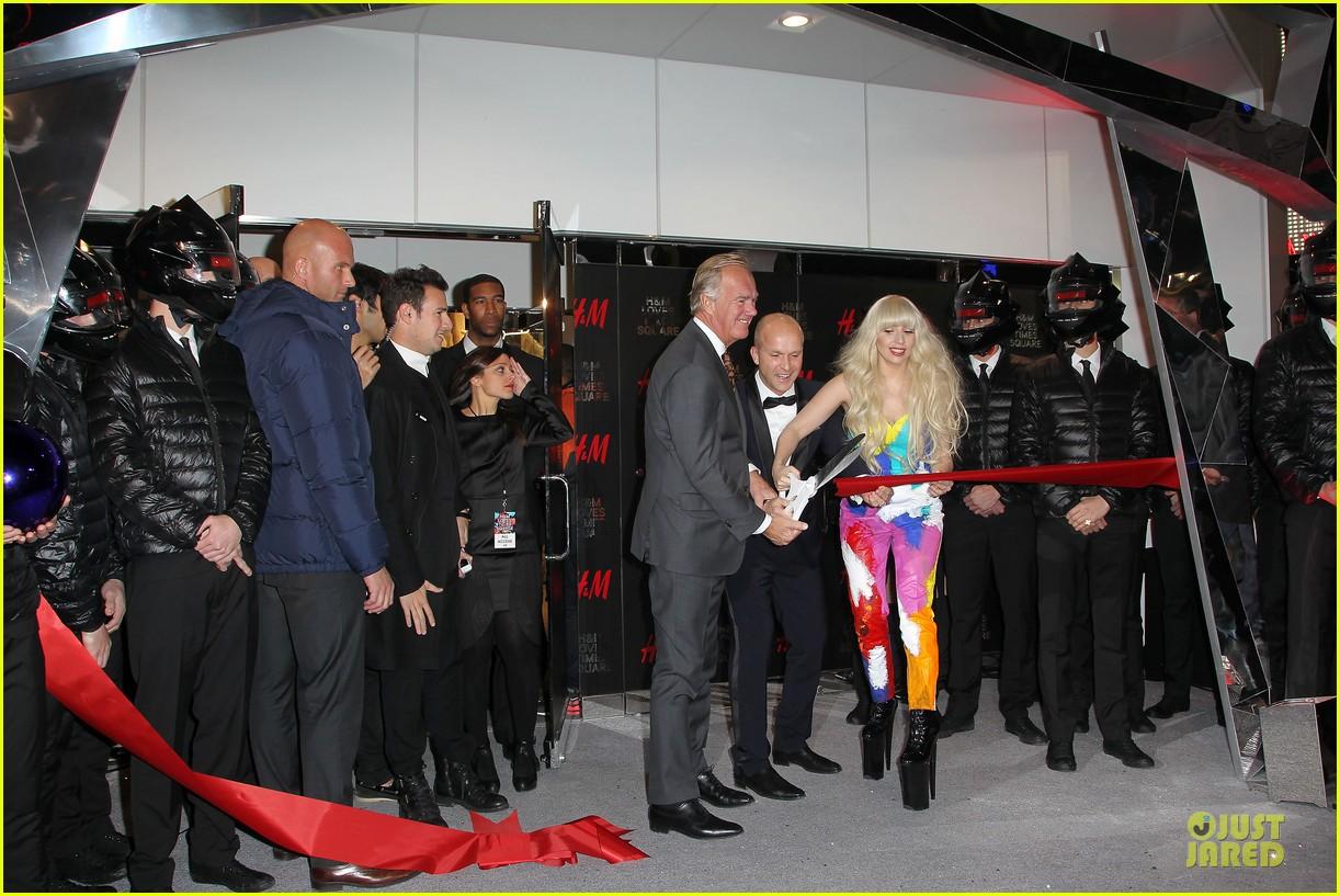 lady gaga cuts red ribbon at hm store opening 07