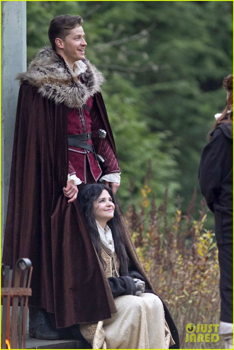 ginnifer goodwin cradles baby bump kisses josh dallas on set 06