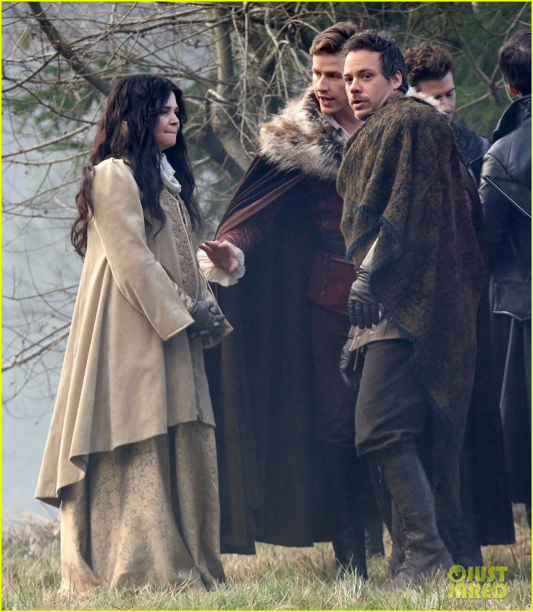 ginnifer goodwin cradles baby bump kisses josh dallas on set 09