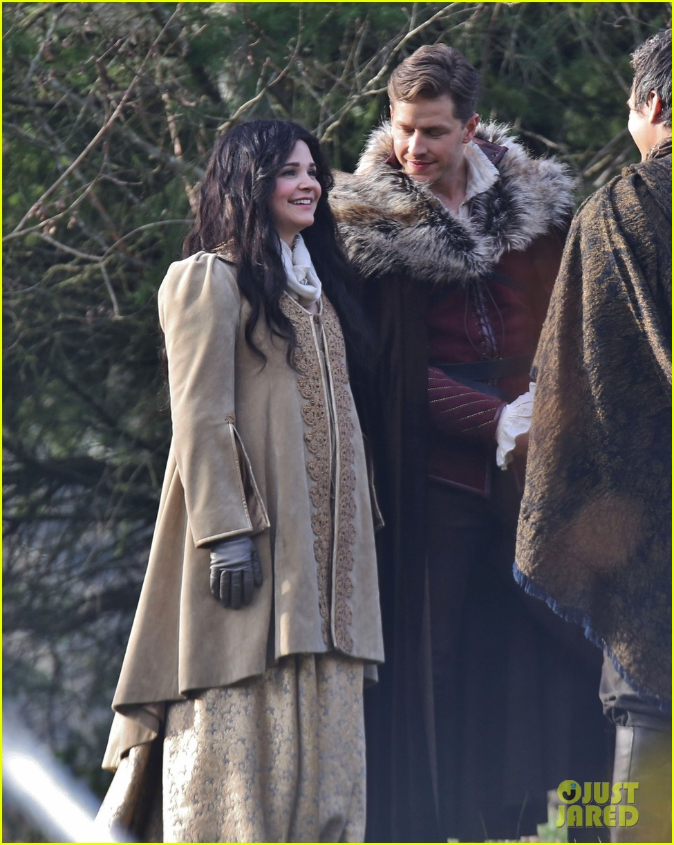 ginnifer goodwin cradles baby bump kisses josh dallas on set 123002082