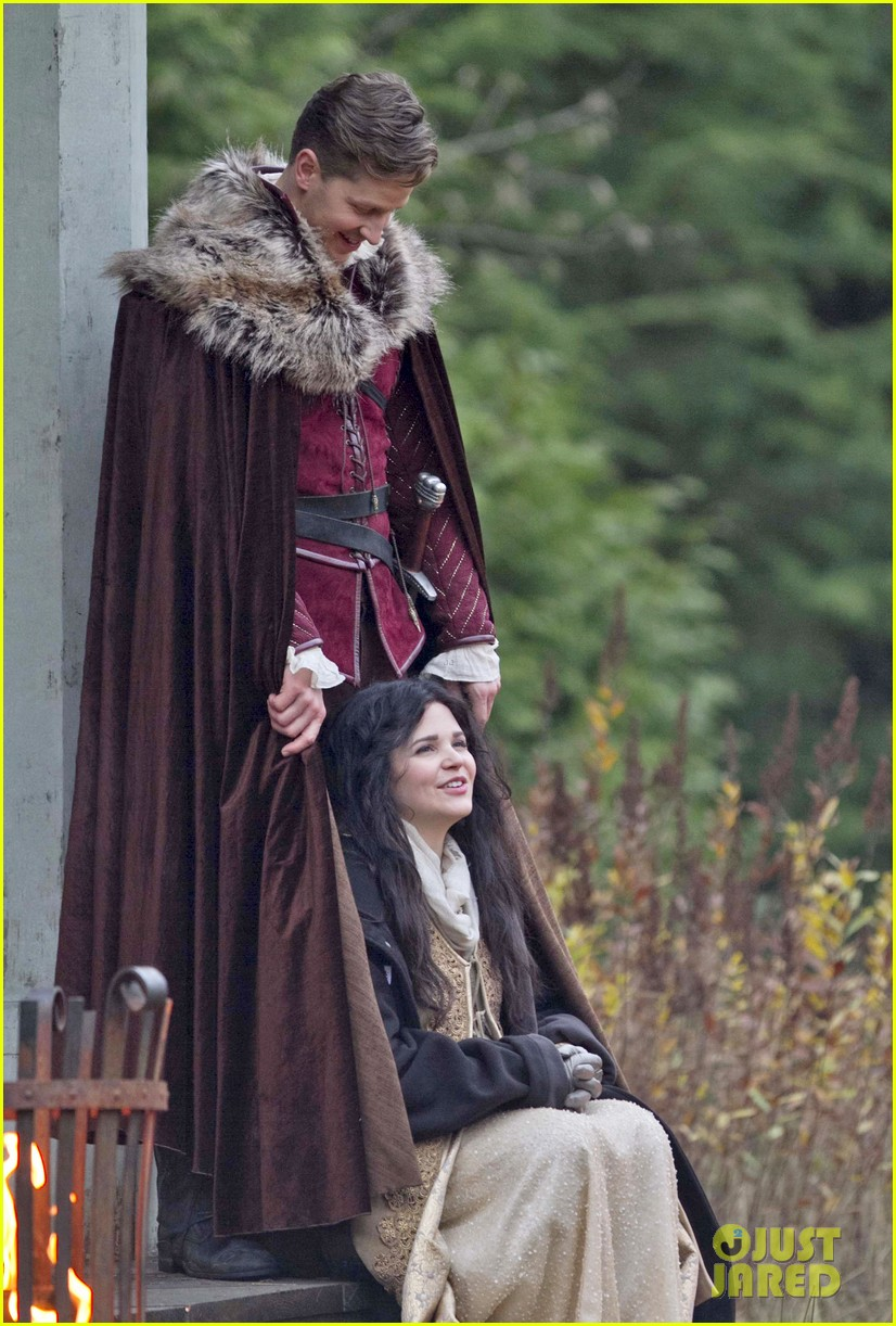 ginnifer goodwin cradles baby bump kisses josh dallas on set 18