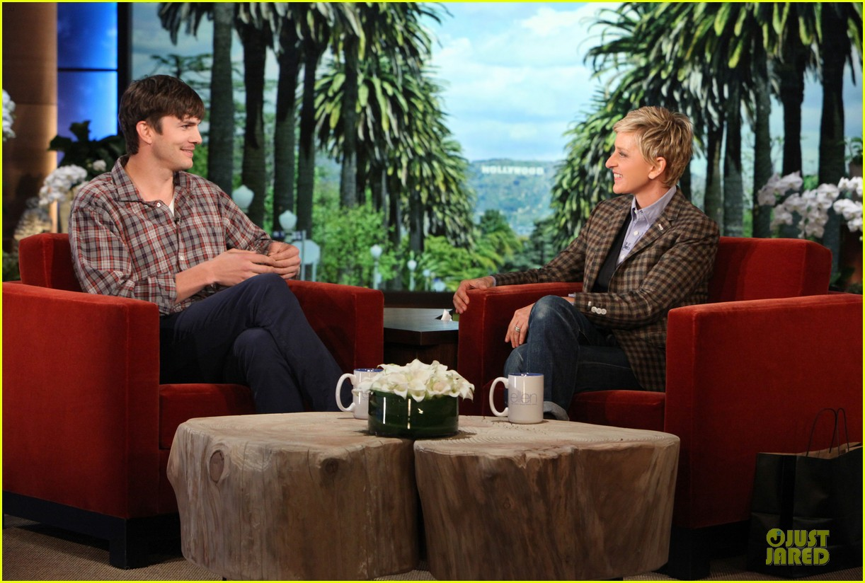 ashton kutcher sports fake movember mustache on ellen 02