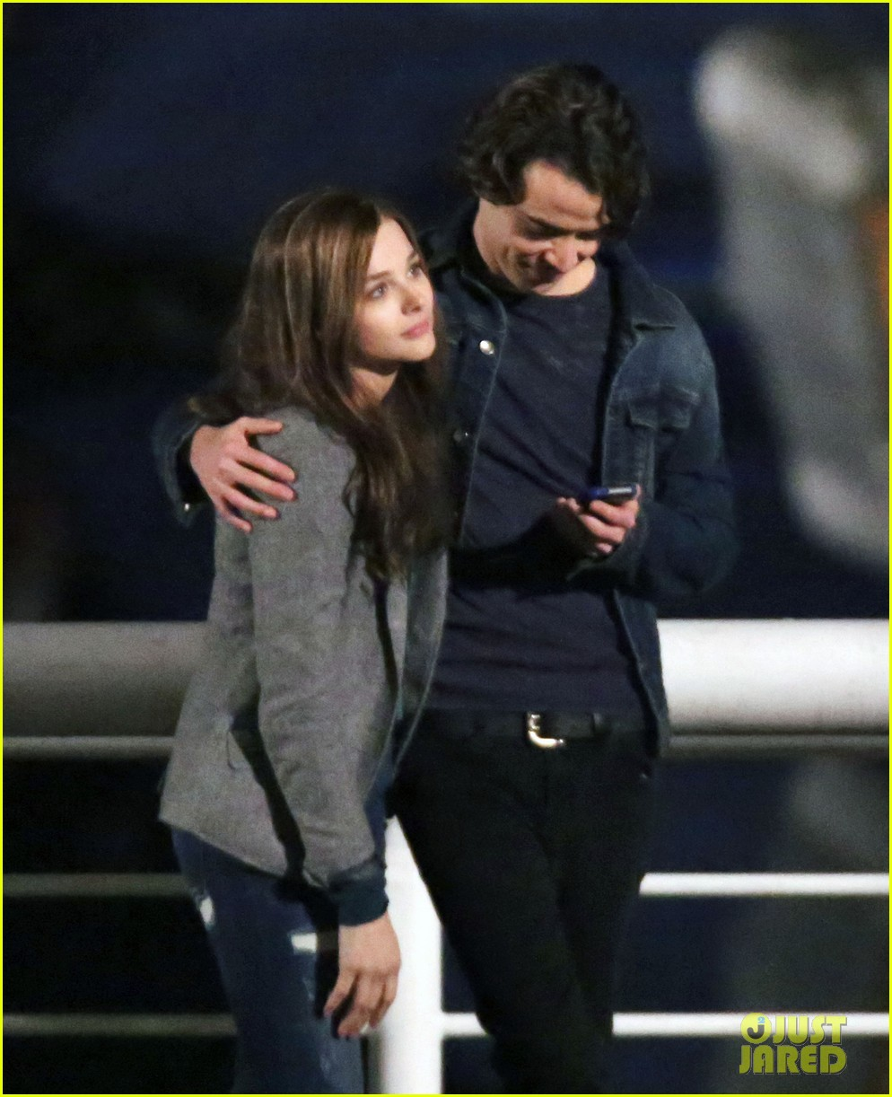 chloe moretz kisses co star jamie blackley on set 233001247
