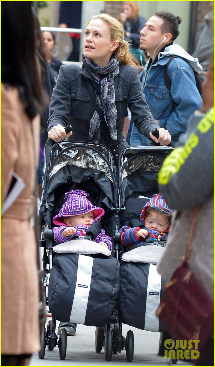 anna paquin pushes adorable twins in double stroller 032984369