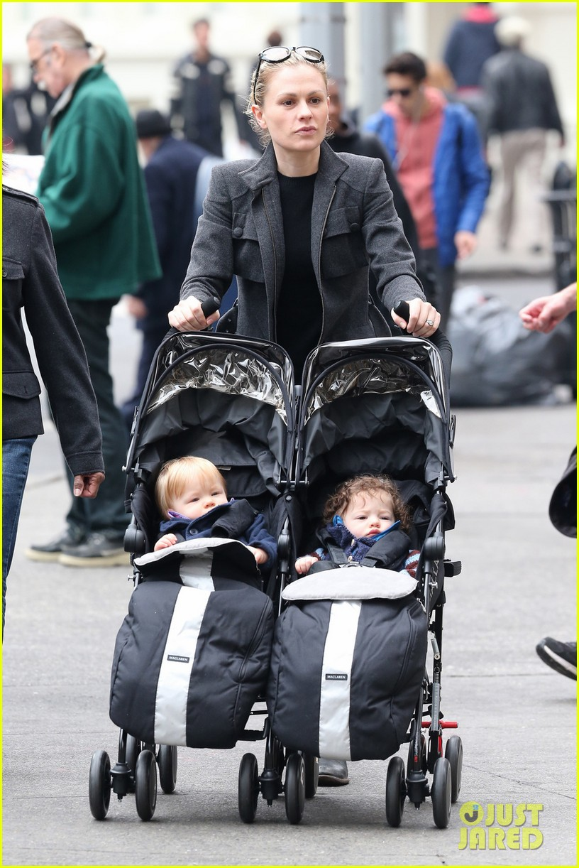 anna paquin pushes adorable twins in double stroller 052984371