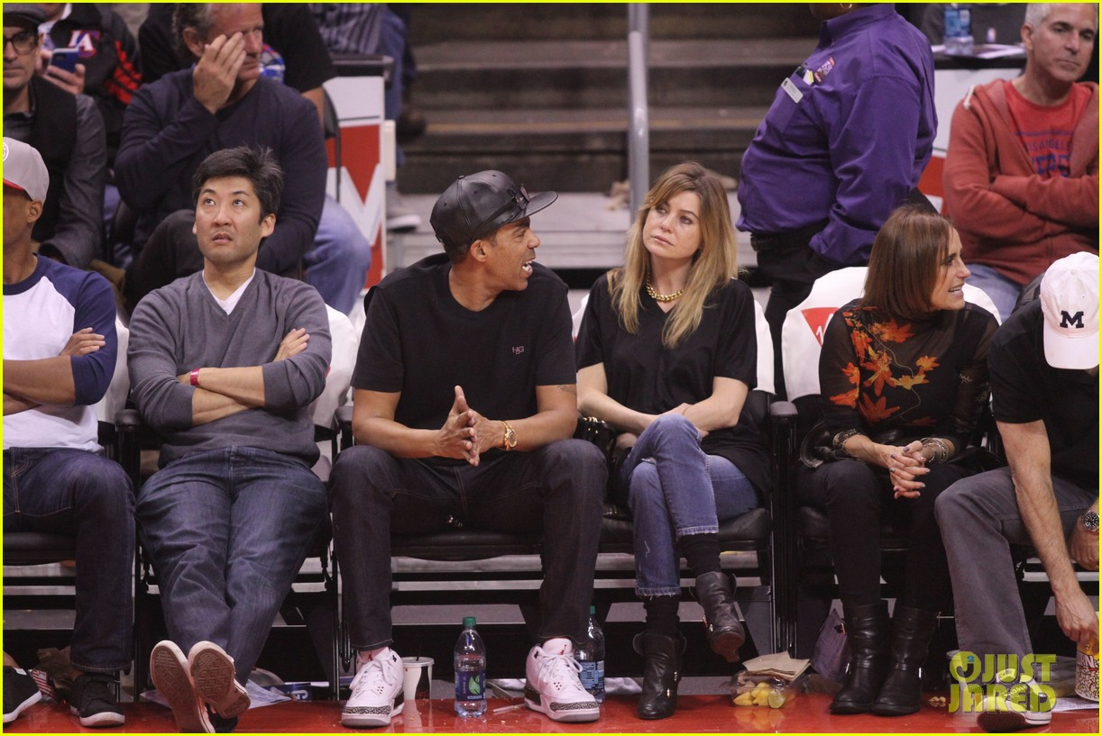ellen pompeo cheers on the clippers with chris ivery 02
