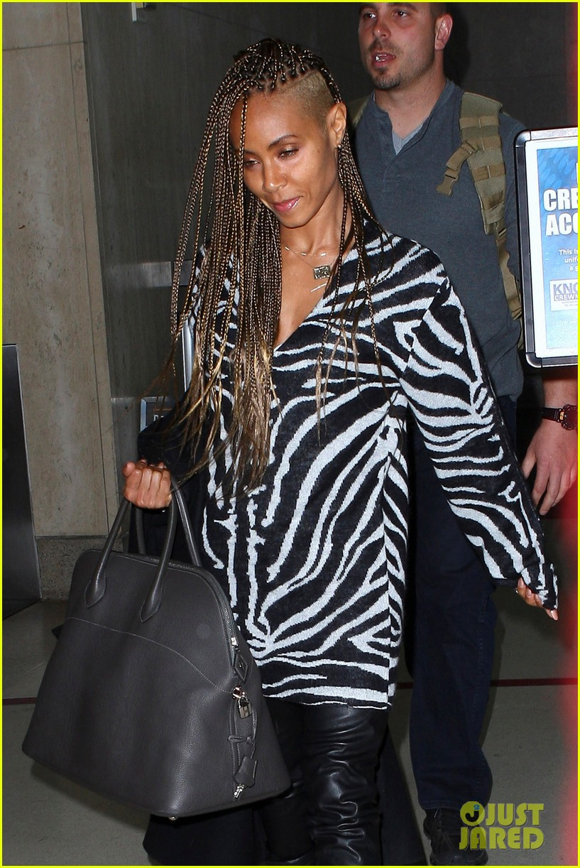 jada pinkett smith long braided hair zeba print at lax 112993249