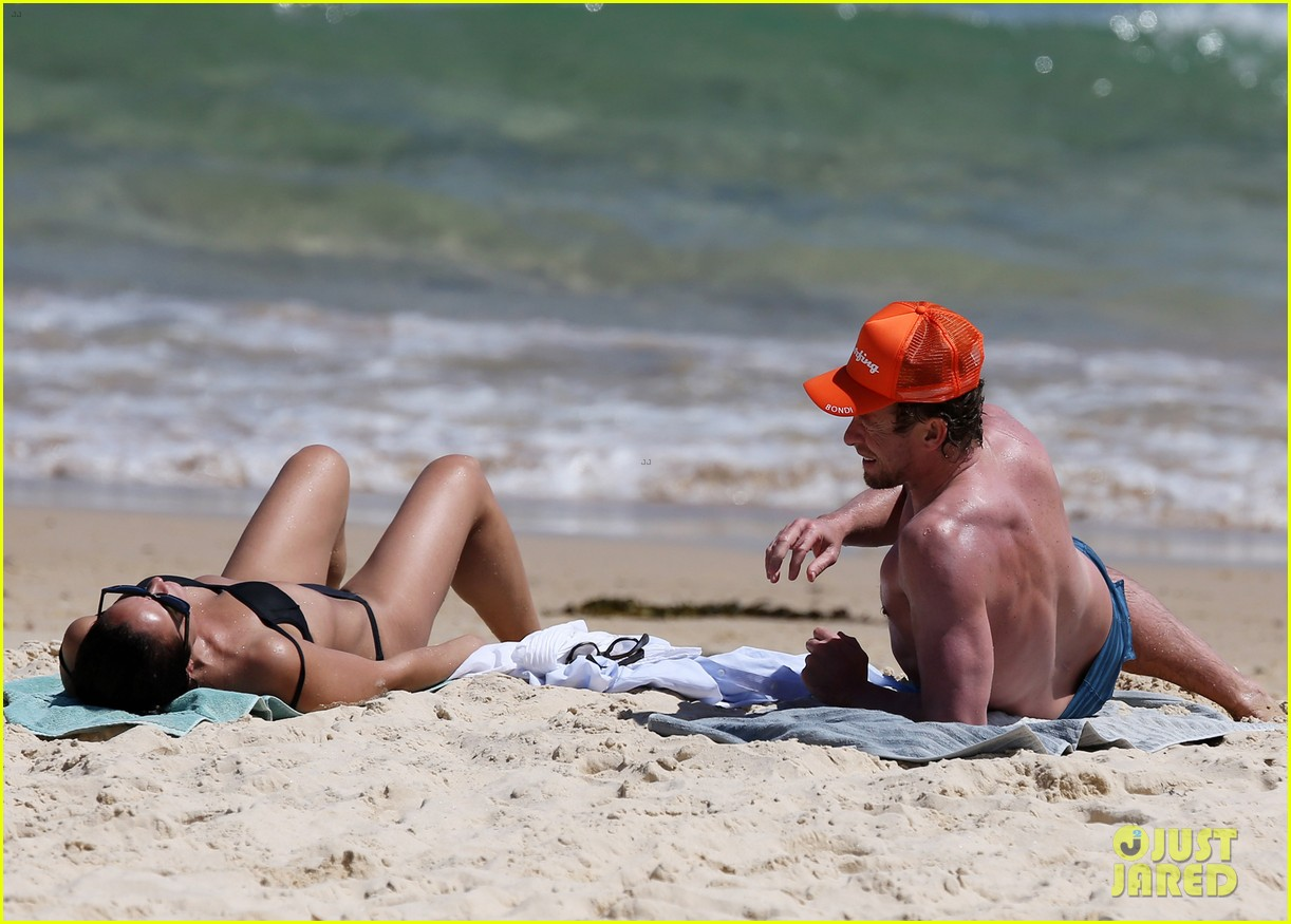 simon baker shirtless beach day with wife rebecca rigg 283013018