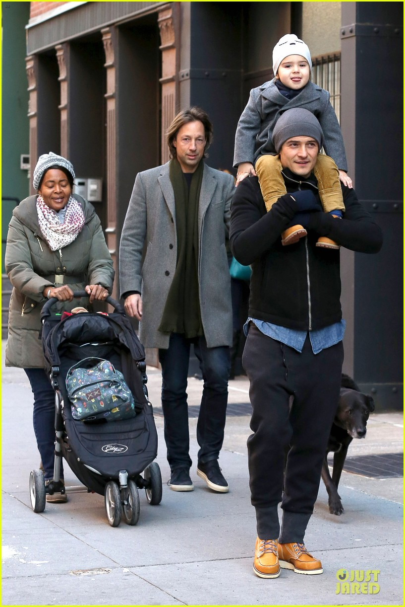 orlando bloom flynn beanie matching father son duo 10
