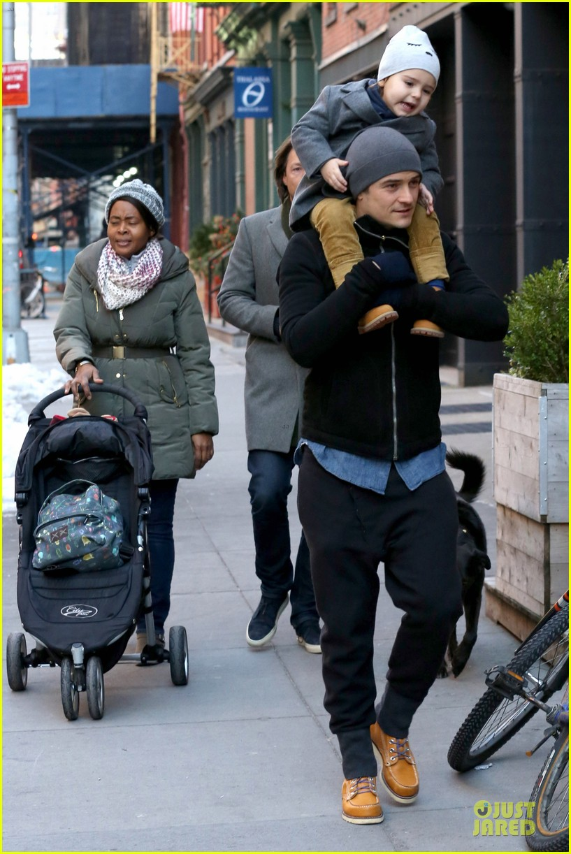orlando bloom flynn beanie matching father son duo 183013192