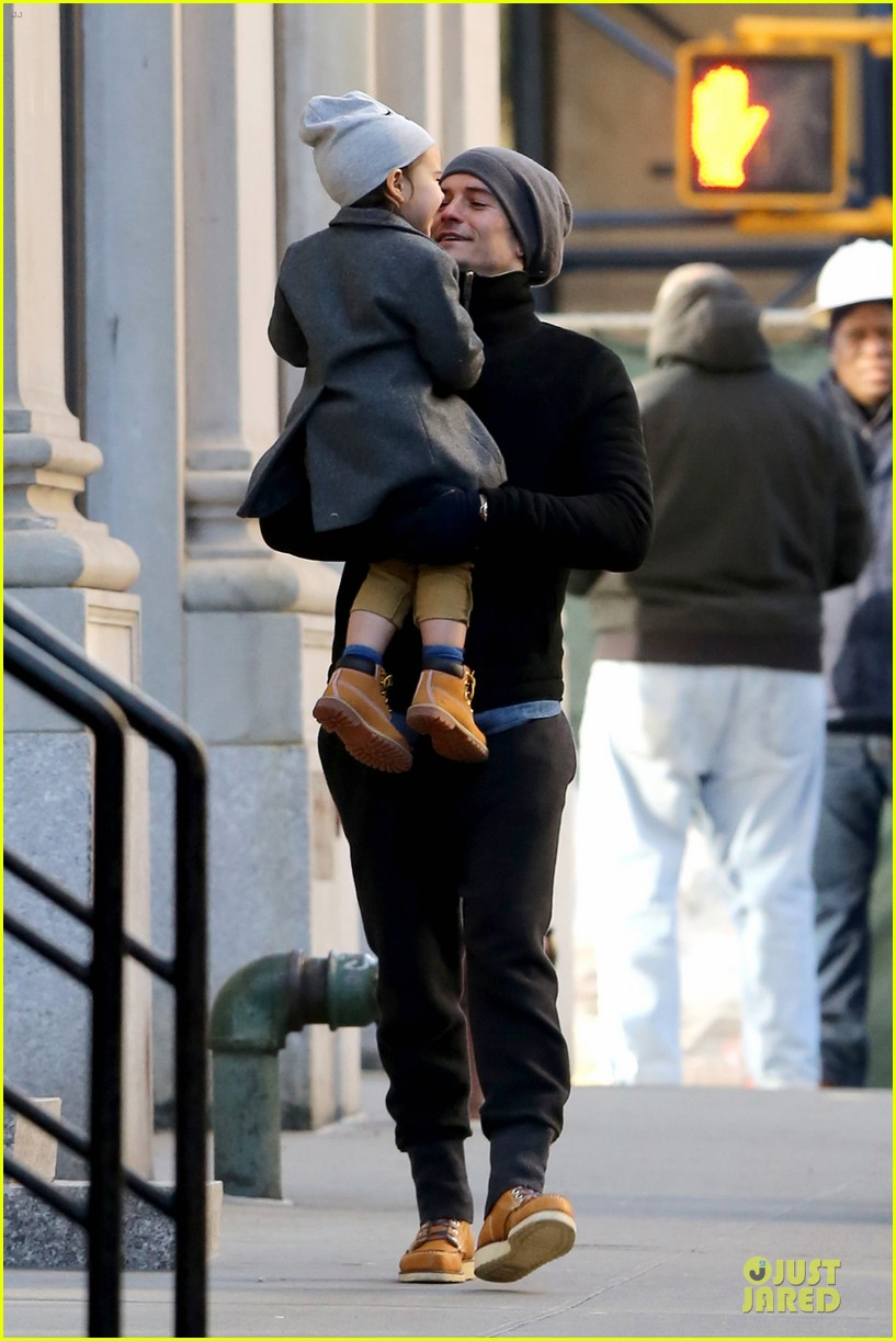 orlando bloom flynn beanie matching father son duo 23