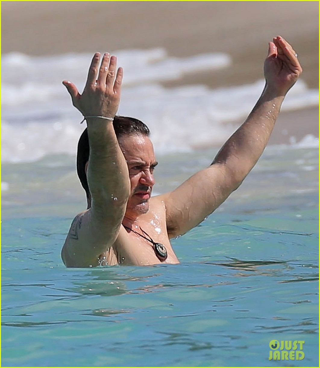 robert downey jr swims shirtless plays with exton in st barts 02