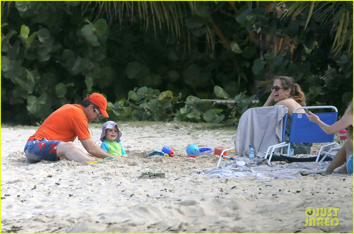 robert downey jr swims shirtless plays with exton in st barts 08