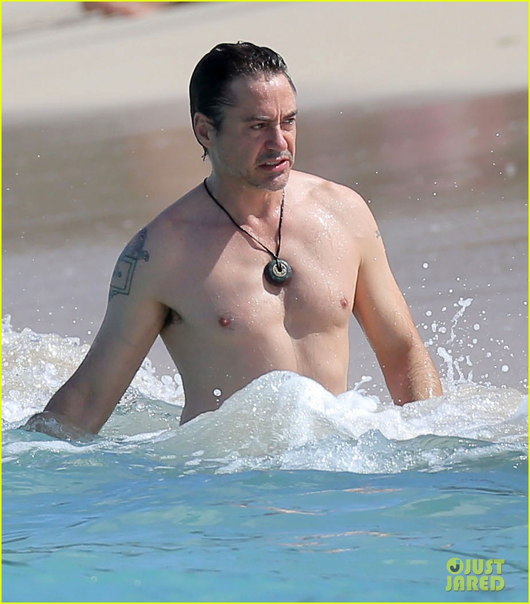 robert downey jr swims shirtless plays with exton in st barts 26