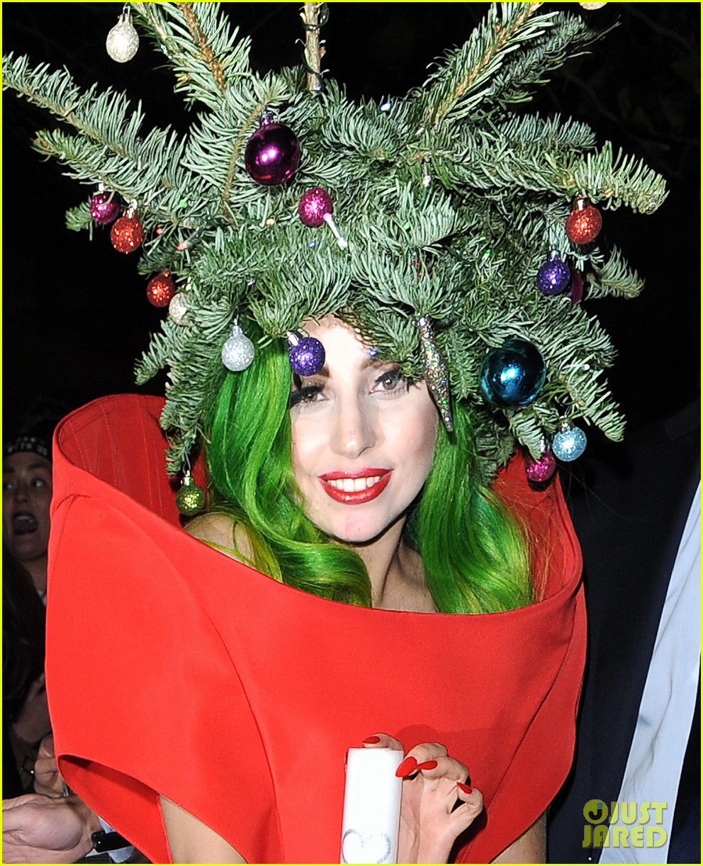 lady gaga dresses as christmas tree after capital fm ball 02
