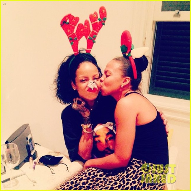 rihanna is a red nosed reindeer at her christmas eve party 11