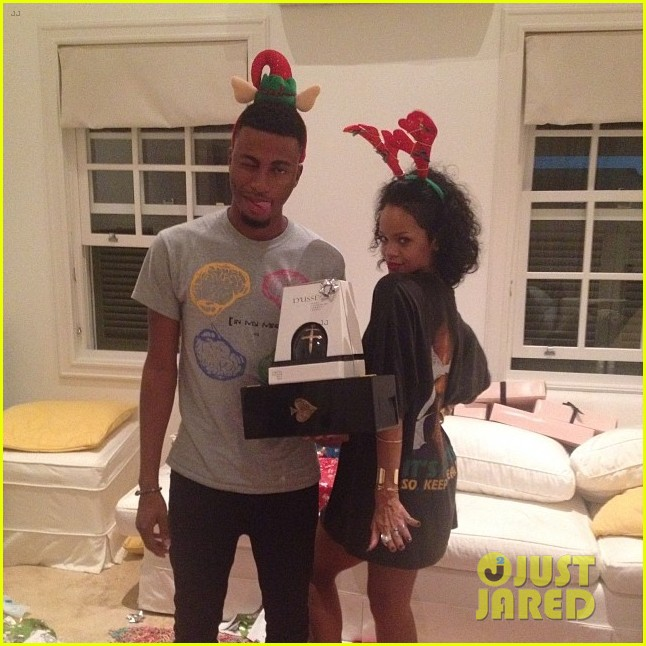 rihanna is a red nosed reindeer at her christmas eve party 12