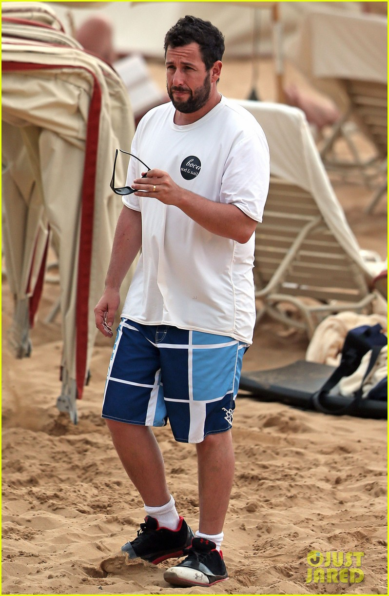 adam sandler spends relaxing beach day with wife jackie 113020379