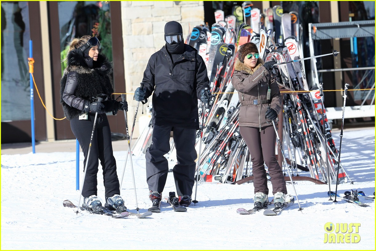 kanye west wears full face mask for skiing with kim kardashian 21