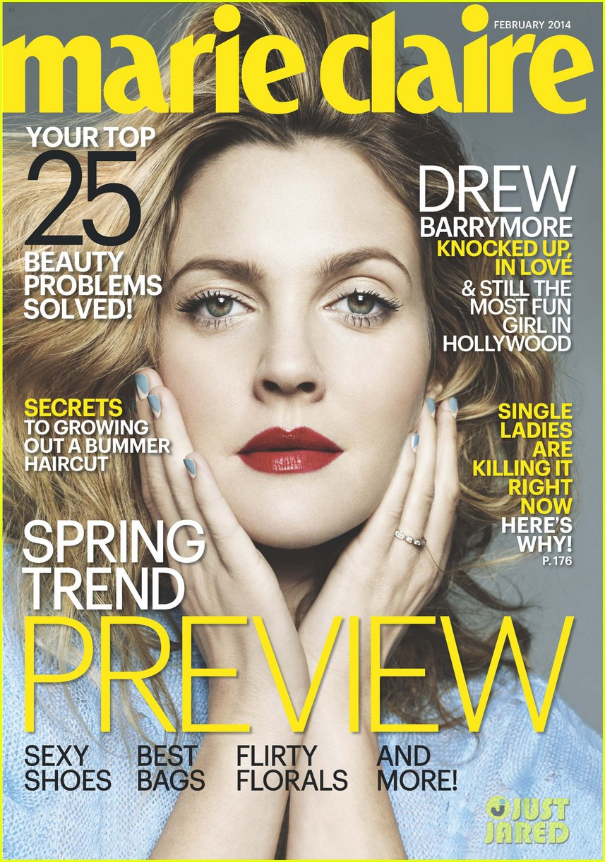 drew barrymore covers marie claire february 2014 023023646
