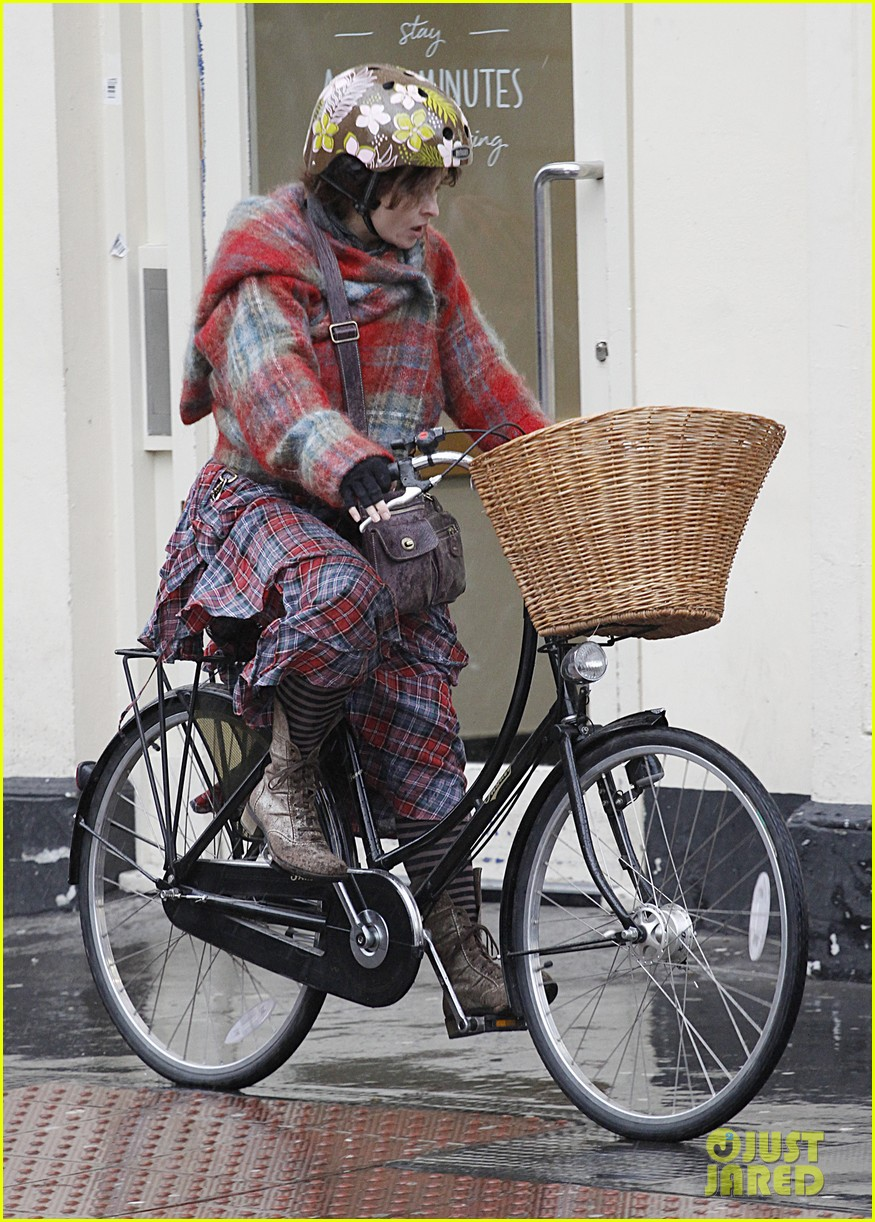 helena bonham carter bikes in the rain with son billy 063022109