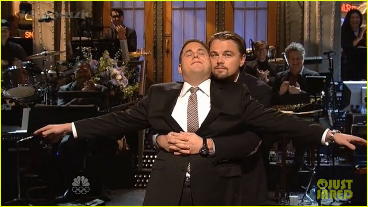 leonardo dicaprio jonah hill recreate titanic scene on snl 053040359