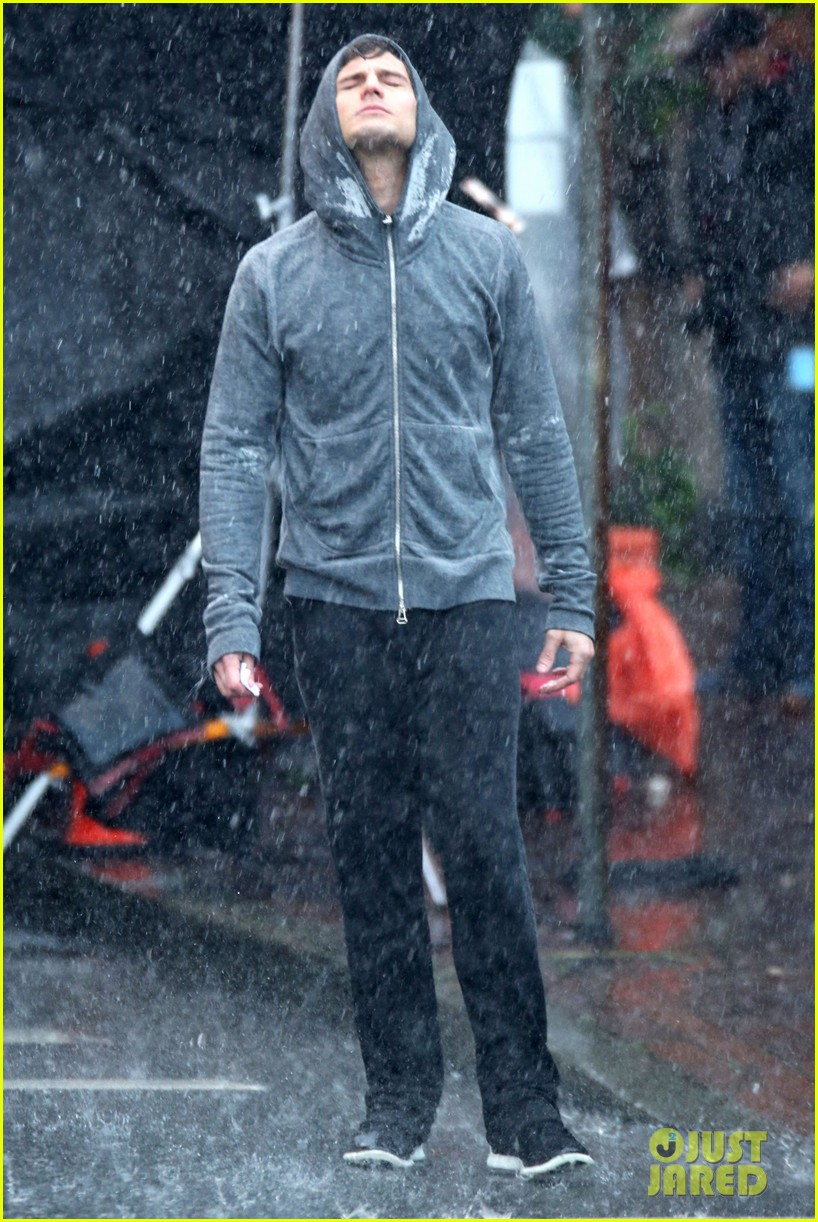 jamie dornan runs in the rain for fifty shades of grey 243043921