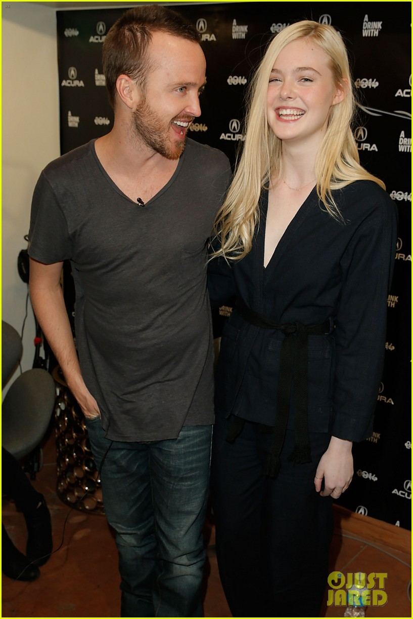 elle fanning aaron paul meet up at varietys sundance studio 243036637