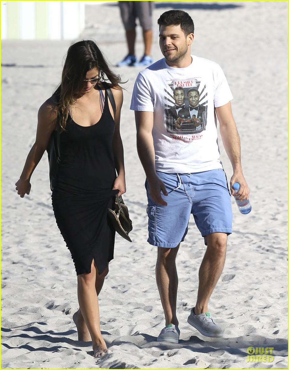 jerry ferrara shirtless miami beach lounging with girlfriend 153036122