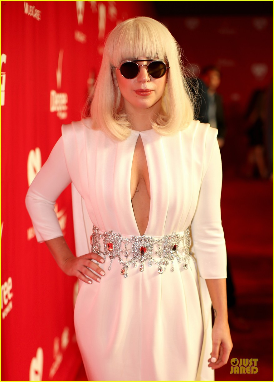 lady gaga white cut out dress at musicares gala 2014 02